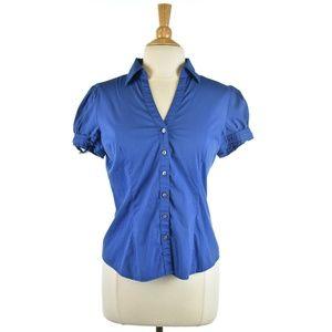 Express Royal Blue V-Neck Blouse